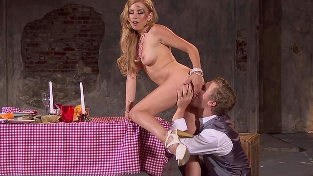 blonde customer girl sucks cock