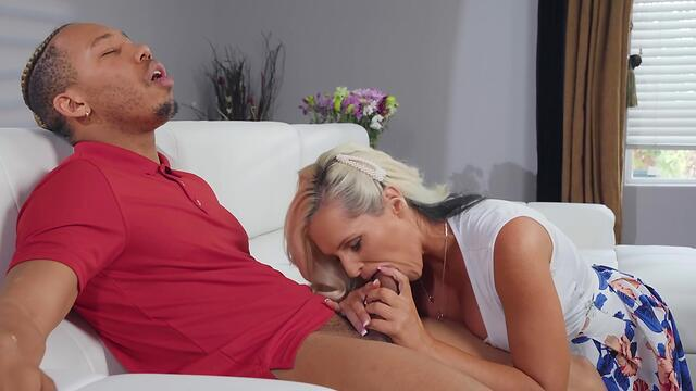 Brunette milf cock sucking mom