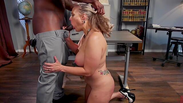 sexy brunette babe got under the bondage of wife