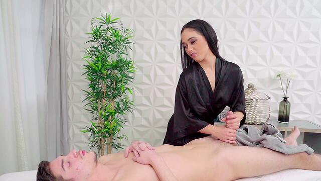 Shy girl fucking after massage