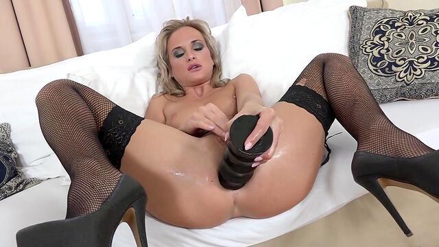 Teenage slut taking a monster